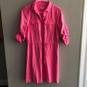 J. Crew Washed Hot Pink Cotton Twill Dress Sz 0